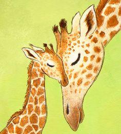 Nursery Wall Art Print Giraffe WHITE or GREEN by StorytimeStudios