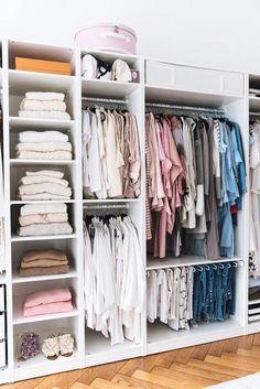 Organizing Walk In Closet, Small Closet Storage, Ikea Closet Organizer, Wardrobe Storage, Clothes Storage, Bedroom Organization, Storage Organization, Wardrobe Closet, Ikea Storage