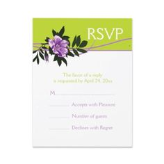 African violet purple wild rose tender shoots green floral wedding RSVP card by weddings_