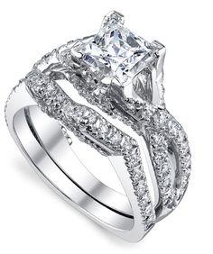 #EngagementRingSets 14k White Gold Rings 0.57 Ct #NaturalDiamondWedding Ring #SolitairewithAccents #Engagement
