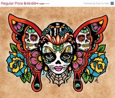 SALE Day of the Dead Sugar Skull BUTTERFLY Old School Tattoo Art Print 8 x 10 or 11 x 14