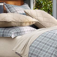 Relaxed Plaid Reversible Duvet Cover + Sham | PBteen with some HORSE throw pillows for a Cowgirl bedroom.
