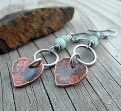 Earrings Everyday: Rustic Hearts Aquamarine Gemstone Earrings