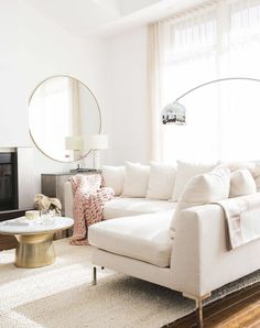 clean interior design - Home Accents living room Living Room Sectional, My Living Room, Living Room Decor, Sectional Sofas, Living Area, White Couch Living Room, Blush Pink Living Room, White Sectional, White Couches