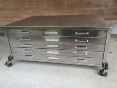 Vintage industrial flat file coffee table cabinet files filing map vintage flat file cabinet coffee table measures 40 34 wide 28 12 deep 19 high drawers are 2 34 high brush steel finish with clear satin finish malvernweather Image collections