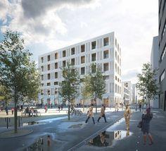 Mixed use development . Lan Architecture, Architecture Visualization, Lyon, Mixed Use Development, Precast Concrete, Construction, Exterior Design, Terrace, Street View