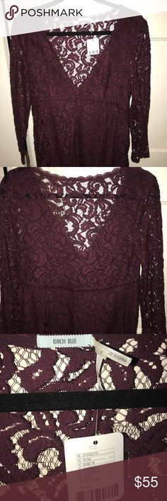 V neck lace dress Beautiful never before worn lace dress. With tags!! It's a kind of deep v neck with a lace see through back. It looks long in the pictures but I'm 5'5 and it's about 6-7 inches above the knee. Kimchi Blue Dresses Long Sleeve
