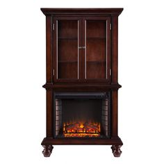 Southern Enterprises Daren 33.25 in. Freestanding Curio Electric Fireplace in Espresso-HD6470 - The Home Depot