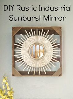 DIY Rustic Industrial Sunburst Mirror from Upcycled Pallet Box