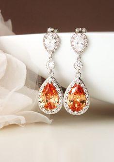 Peach Earrings Teardrop Cubic Zirconia by DreamIslandJewellery