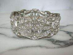 Art Deco Bangle Bracelet Antique Rhinestone Cuff Original