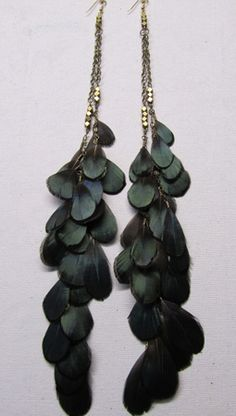 Ghost Dancer Feather Earrings with Brass Nuggets