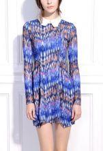 Blue Abstract Print Contrast Collar Petal Dress $40.9  SKU:dress130306454