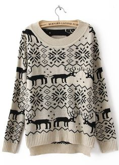 Khaki Long Sleeve Deer Print Asymmetrical Sweater
