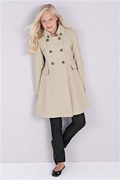 Cream Military Button Coat (3-16yrs)