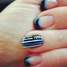 Thin blue line nails. #thinblueline #coplivesmatter #nailart #LEO