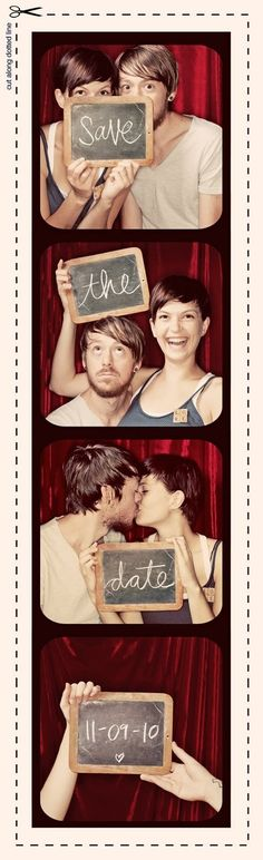 cute DIY save the date announcement for a wedding. Pictures from a photo booth; need a chalk board.