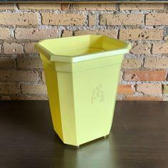1950s pale lemon yellow plastic #wastebasket in Etsy! 🍋🗑 Trash Bins, Lemon Yellow, 1950s, Plastic, Retro, Vintage, Vintage Comics, Retro Illustration