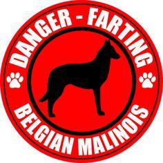"""FARTING BELGIAN MALINOIS 5"""" DOG STICKER DECAL"""