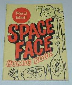 Vintage Space Alien Face Coloring/Comic Book Red Ball Shoes Advertising Premium    eBay