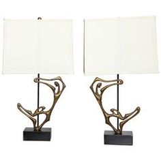"pair of Frederick Weinberg solid Bronze ""Dancer"" Table Lamps"