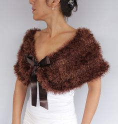 Brown Costume Cape Formal Evening Bolero Faux Fur Knit Poncho Crochet Shrug Shoulder Stole Bridal Shawl Dress Cover-up Modern Wedding
