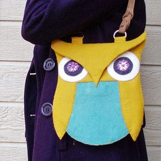Felt Owl Purse--Mustard and Teal Wool Blend Felt with Shisha Eyes    I'm an OWL FANATIC! This might be my first project. Really wish I had a sewing machine!!!