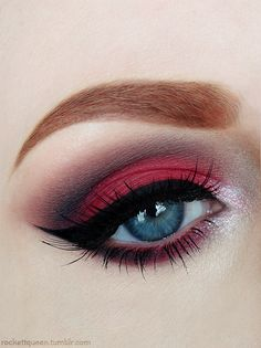 Red eyeshadow #vibrant #smokey #bold #eye #makeup #eyes