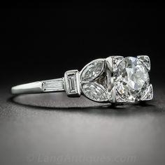 Vintage Diamond & Platinum Art Deco Engagement Ring - circa 1920s-30s