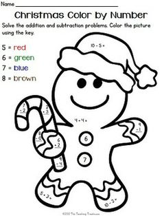 math worksheet : addition and subtraction number worksheets and color by numbers  : Christmas Addition Worksheets
