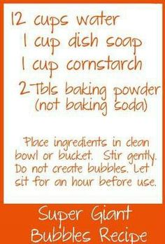 Bubbles bubble solution recipe bucket, sit for one hour
