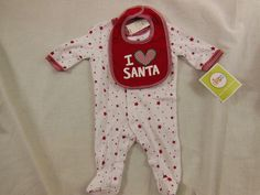 Christmas Baby Sleeper One Piece With Matching Bib I Love Santa (Heart) New #Circo #HolidayChristmas