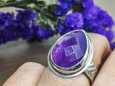 Amethyst Ring Faceted Pear Shape Large Silver Ring. February
