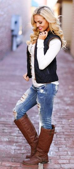 Black Vest + White Top + Ripped Skinny Jeans.
