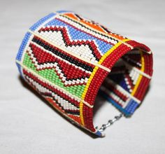 AFRICAN+MAASAI+MASAI+BEADED+TRADITIONAL+ETHNIC+TRIBAL+WIRE+BRACELET+-+KENYA+#10+#Unbranded