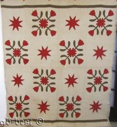 Rare-1890s-Red-Green-TULIPS-Stars-Antique-Quilt-FINE-clam-shell-QUILTING
