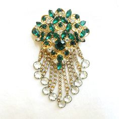 Vintage JULIANA Verified D&E Layered Emerald Green and Clear Rhinestones with Crystal Dangles Brooch by MyVintageJewels, $98.00