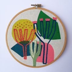 Cactus Embroidery, Abstract Embroidery, Hand Embroidery Art, Sashiko Embroidery, Learn Embroidery, Modern Embroidery, Embroidery Applique, Embroidery Stitches, Textile Prints