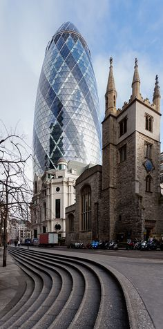 30 St Mary Axe (widely known informally as The Gherkin and previously as the Swiss Re Building) is a commercial skyscraper in London's primary financial district in the City of London.