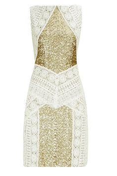 Ivory sequinned crochet dress BY SIDDARTHA TYTLER. Shop now at: www.perniaspopups... #perniaspopupshop #designer #stunning #fashion #style #beautiful #happyshopping #love #updates