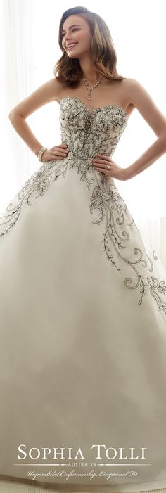 Sophia Tolli Spring 2017 Wedding Gown Collection - Style No. Y11709 Emeline - strapless organza ball gown wedding dress with black hand-beaded lace appliqués