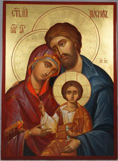 The Holy Family - This is a premium quality icon made with pure 23K gold leaf. Painted using traditional technique - egg tempera, lime wood panel with slats on the back, varnish, 23 karat gold leaf. About our icons Blessedmart offers hand-painted religious icons that follow the Russian, Greek, Byzantine and Roman Catholic traditions. We partner with some