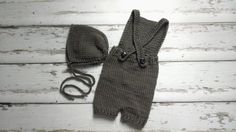 Newborn baby boy hand knitted Romper Overall and by MyLittleKnits