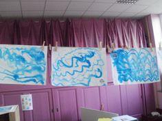 golven schilderen met ecoline of waterwerf op nat blad