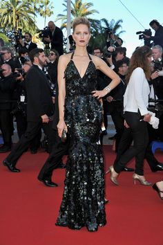 Va-Va-Voom! See the Sexiest Dresses to Hit the Red Carpet in 2012 : Karolína Kurková channeled her inner mermaid in a sexy, formfitting black halter dress, complete with a shiny, embellished scalelike finish on the Killing Them Softly Cannes red carpet.