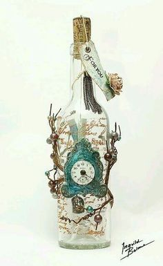 This gives me an idea for an Alice in wonderland inspired wine bottle light with a drink me tag on top.