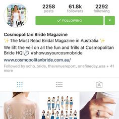 Thanks for the feature, Australian Cosmo💕 So excited they choose to showcase the Elle gown 🎉 via Cosmos, Thankful, Gown, Bride, Instagram Posts, Dress Prom, Costume, Bridal, Robe