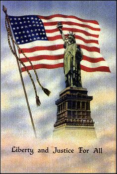 Offering a vintage 1942 color postcard. The postcard features the Statue of Liberty in front of a waving American flag. Liberty and Justice for All American Pride, American History, American Flag, I Love America, God Bless America, Independance Day, And Justice For All, Star Spangled Banner, Nyc