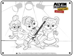 Alvin and The Chipmunks Free Chipettes Printable Coloring Page: