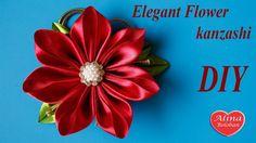 Элегантный цветок канзаши на гребне / Elegant Flower kanzashi on the crest